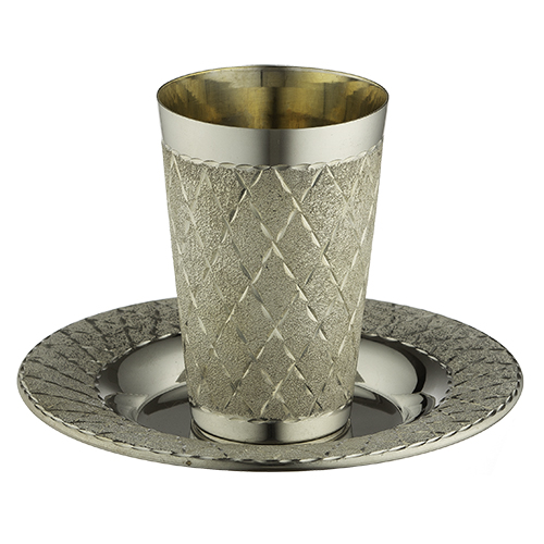 Elegant Kiddush Cup 8.5 cm with Saucer