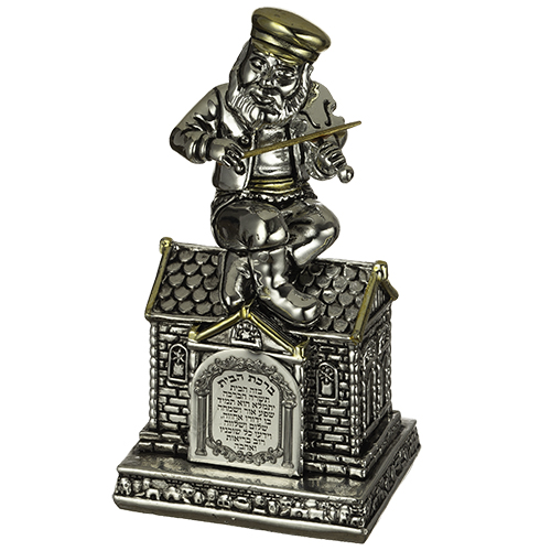 "Silvered Polyresin Hassidic Figurine Sits On Stage 13 Cm ""fiddler On The Roof"""