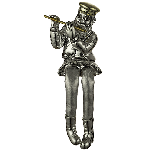 Polyresin Sitting Hassidic Figurine With Black Cloth Legs 26 Cm - Flute Player