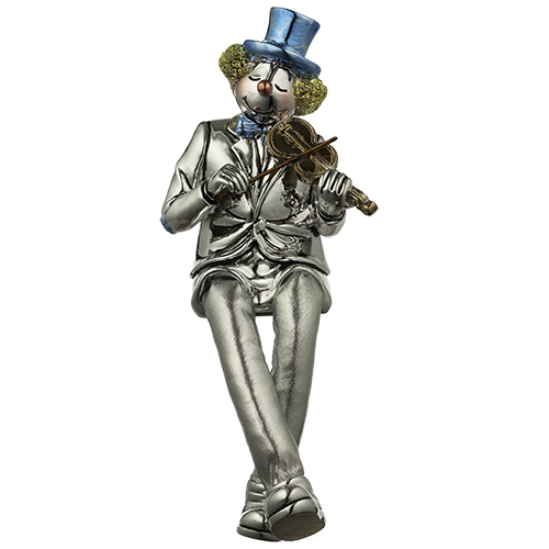 Polyresin Clown Figurine With Cloth Legs 12 Cm- Violin Player