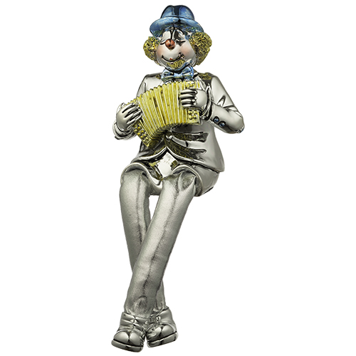 Polyresin Clown Figurine With Cloth Legs 12 Cm- Accordion Player