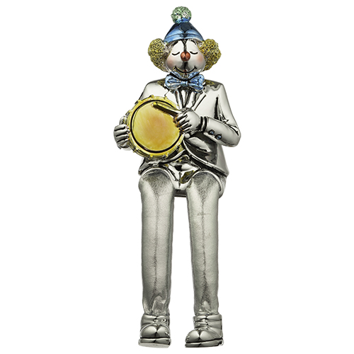 Polyresin Clown Figurine With Cloth Legs 12 Cm- Drum Player