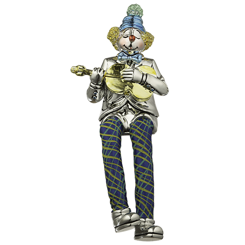 Polyresin Clown Figurine With Cloth Legs 12 Cm- Guitar Player