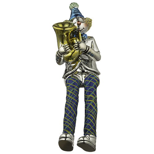 Polyresin Clown Figurine With Cloth Legs 12 Cm- Trombone Player