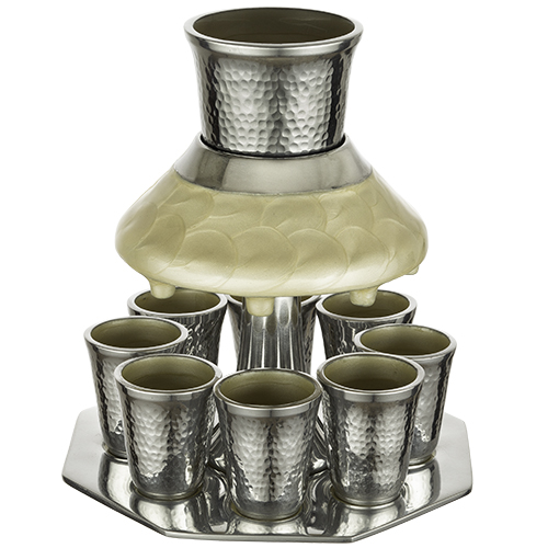 Aluminum Wine Divider With 8 Small Cups 21 Cm - Pearl