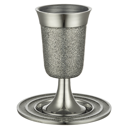 Aluminum Kiddush Cup 15 Cm With Saucer - Silver Glitter