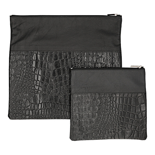 Leather Talit Tefilin Set 36*33cm- Black