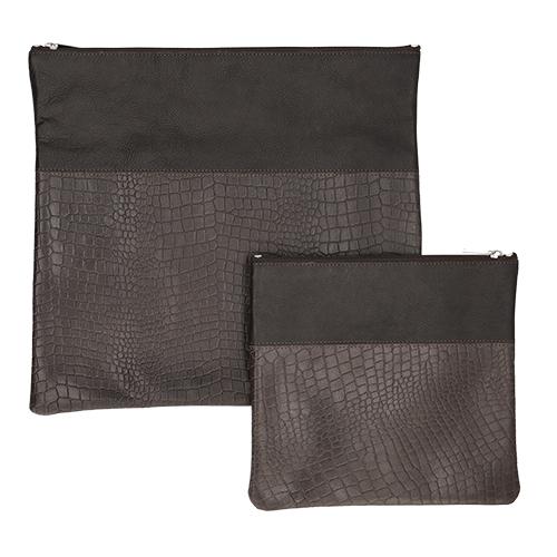 Leather Talit Tefilin Set 36*33cm - Dark Brown