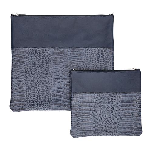Leather Talit Tefilin Set 36*33cm - Dark Blue