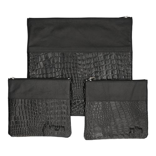 Leather Like Talit Tefilin Set Rashi 3 Pc. Set 41*38 Cm- Black
