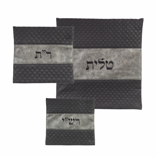 Leather Like Talit - Tefilin Set 40*43 Cm With Embroidery