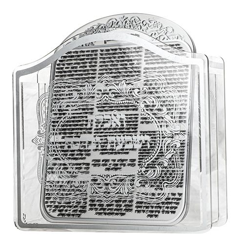 PERSPEX BENCHERS STAND 23X26X5 CM WITH 6 BLESSINGS 25X20 CM- ASHKENAZ